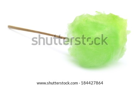 Green cotton candy over white background - stock photo