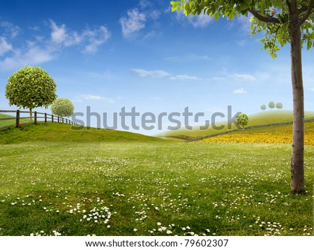Green country Landscape - Background for your Art - stock photo