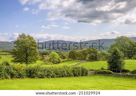Green countryside landscape in Cumbria - stock photo