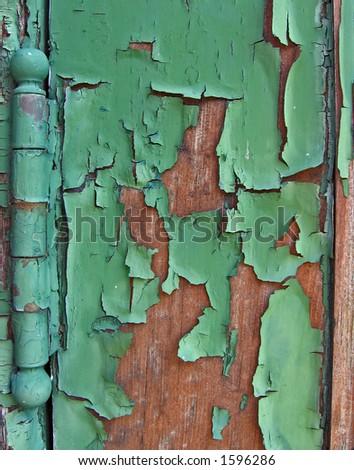 Green Crackled Door Hinge - stock photo