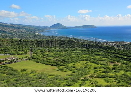 Green crater of Diamond Head with Koko in background - stock photo