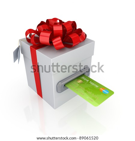 Green credit card and gift box.Isolated on white background.3d rendered. - stock photo