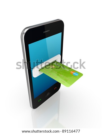 Green credit card and modern mobile phone.Isolated on white background.3d rendered. - stock photo