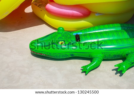 Green crocodile inflation - stock photo