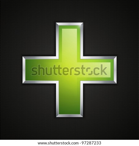 Green cross clean icon and polygon texture - stock photo