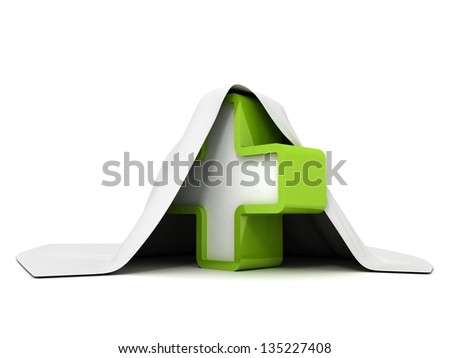 green cross concept sign under white cloth - stock photo