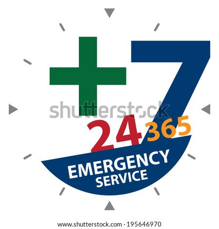 Green Cross Sign With Blue 24 Hours A Day, 7 Days A Week, 365 Days A Year Emergency Service Label, Sign or Icon Isolated on White Background  - stock photo
