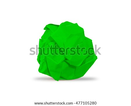 green crumpled paper ball with shadow