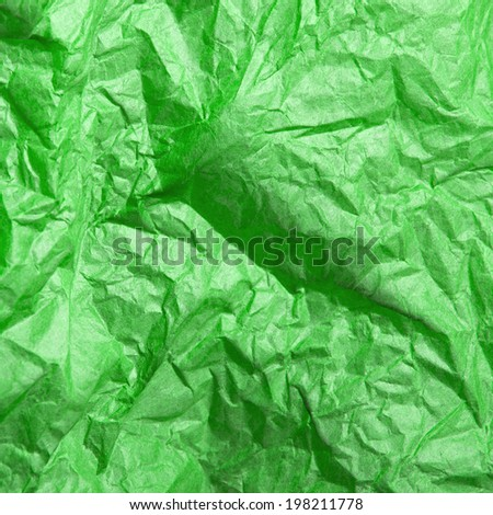 green crumpled tissue paper texture for background - stock photo