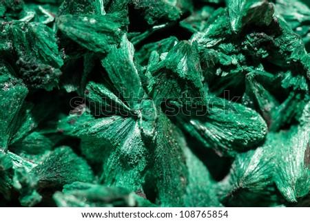 Green crystals of rocks malachite - stock photo