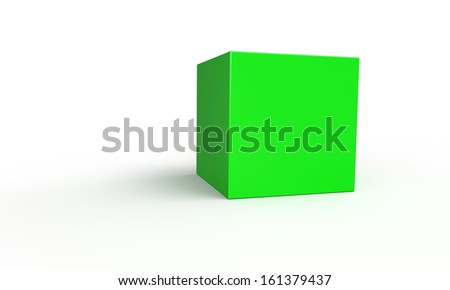 green cube in 3d isolated on white