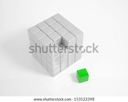 Green Cube is the missing piece of a puzzle - stock photo