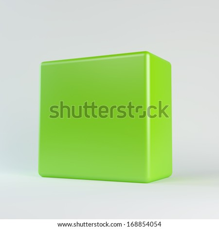 Green cube with rounded edges. Isolated render on a white background