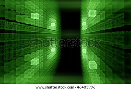 green cubic perspective with   binary code data flow - stock photo