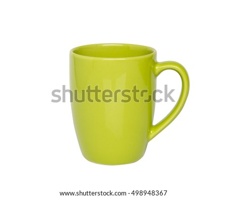 Green cup ceramic isolated