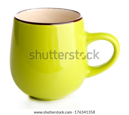 Green cup isolated on white - stock photo