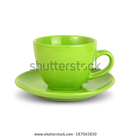 Green cup with saucer. Isolated on white background