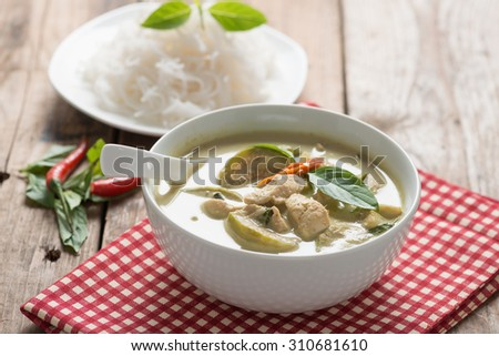 Green curry chicken with thai rice vermicelli , Thai cuisine. - stock photo