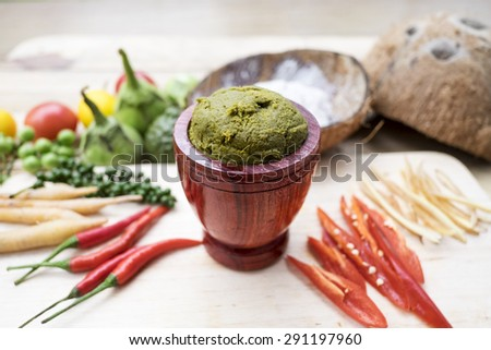 GREEN CURRY, Ingredients of Thai Spicy Food. Thai traditional and popular food. - stock photo