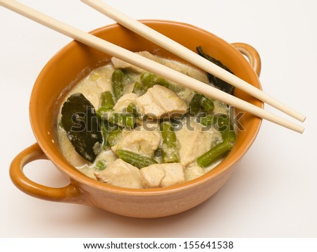 Green curry with chicken - stock photo
