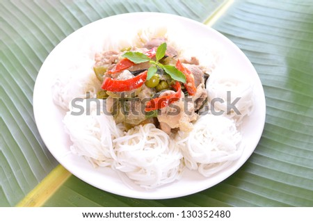 Green curry with noodles.