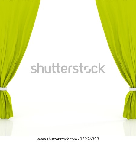 green curtains isolated in white - stock photo