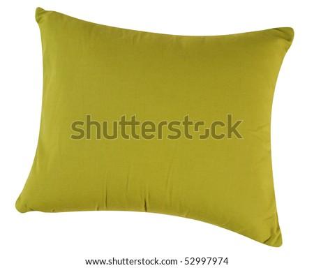 Green cushion. Isolated - stock photo