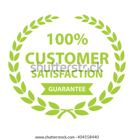 green 100% customer satisfaction guarantee sticker, icon, label, banner, sign isolated on white  - stock photo