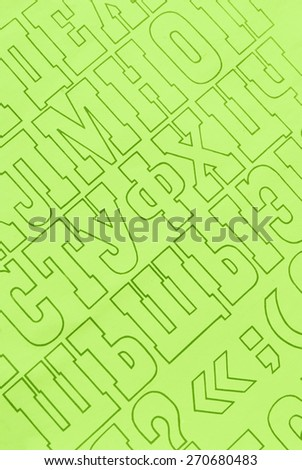 green cyrillic alphabet letters paper