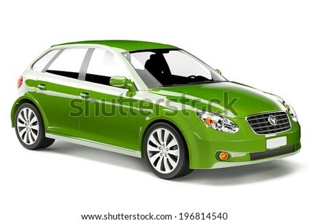 Green 3D Car - stock photo