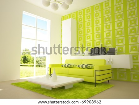 green 3d interior - stock photo