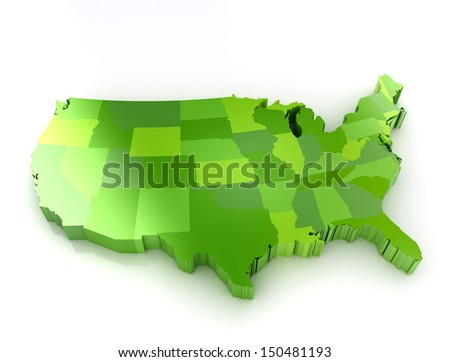 Green 3d map of usa on white background. Shadow and reflection.