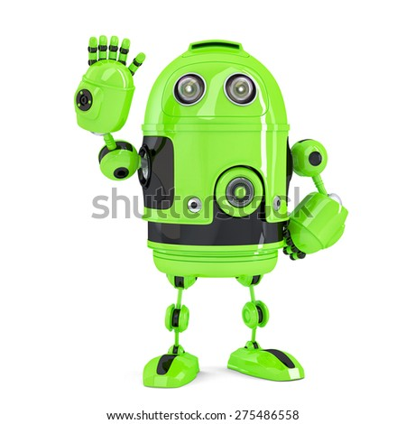 Green 3d Robot waving hello. Isolated over white. Contains clipping path