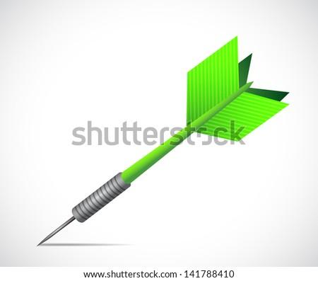 Green dart illustration design over a white background - stock photo