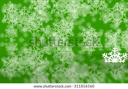 Green defocused snowflakes background with white half shape of snowflakes in water reflection of background - stock photo