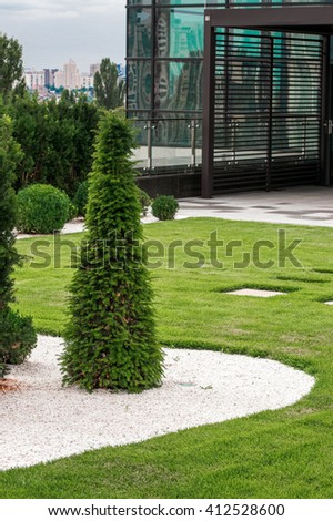 green design in the city park - stock photo