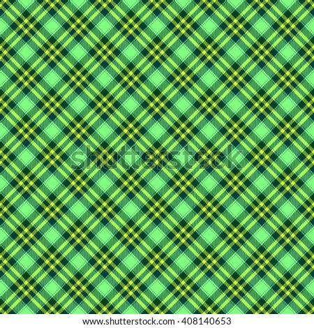 Green diagonally seamless regular checkered pattern with cloth texture - digitally rendered background