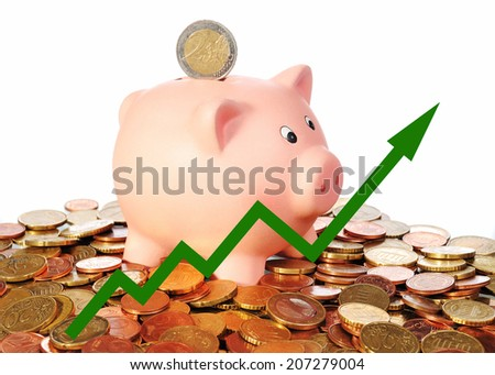 green diagram upwards with piggy bank - stock photo