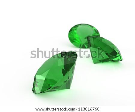 green diamond isolated on white - stock photo