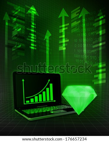 green diamond with positive online results in business illustration - stock photo