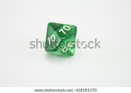 green dice cube - stock photo
