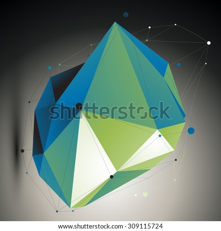 Green digital 3d abstraction, lattice geometric polygonal misshapen template. Emerald three-dimensional wireframe unusual illustration.