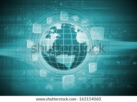 Green digital image of globe with conceptual icons. Globalization concept - stock photo
