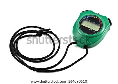 green digital watch timer - stock photo