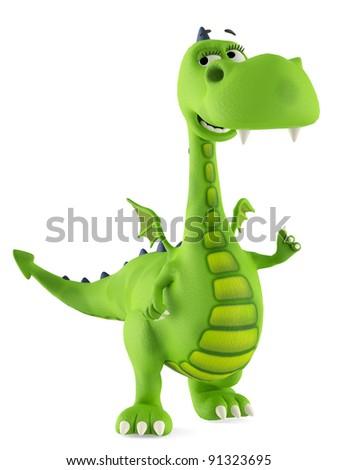 green dino dragon baby smiling - stock photo