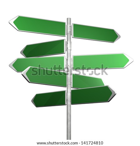 green directional signs on a white background - stock photo