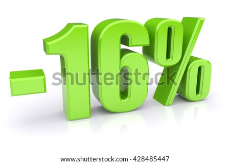 Green 16% discount icon on a white background. 3d rendered image