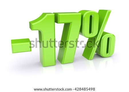 Green 17% discount icon on a white background. 3d rendered image - stock photo