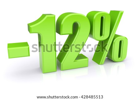 Green 12% discount icon on a white background. 3d rendered image