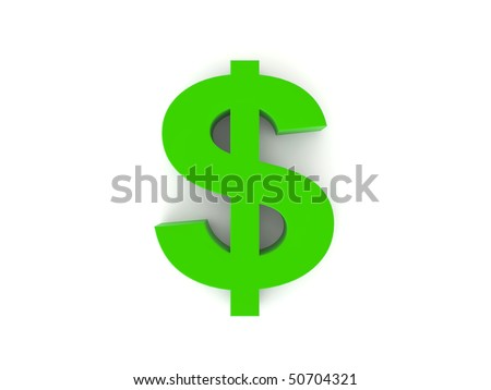 green dollar sign isolated on white ground - stock photo